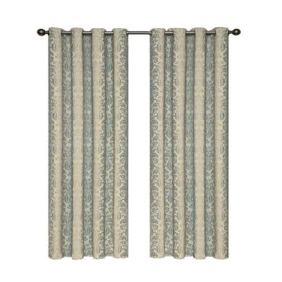 Nadya Blackout Smokey Blue Polyester Curtain Panel, 95 in. Length