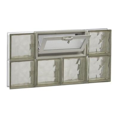 Frameless Bronze Wave Pattern Vented Glass Block Window
