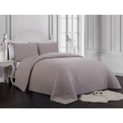 Gweneth 3 pc Enzyme Washed Solid Comforter Set
