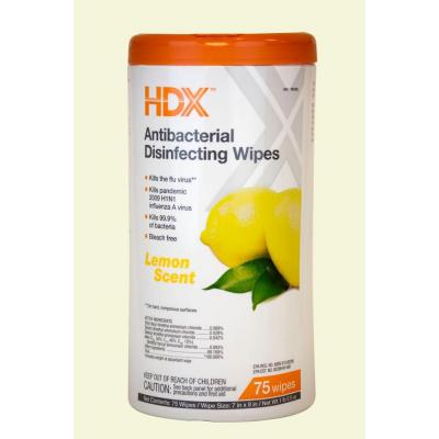 Lemon Scented Antibacterial Disinfecting Wipes (75-Count) Product Photo