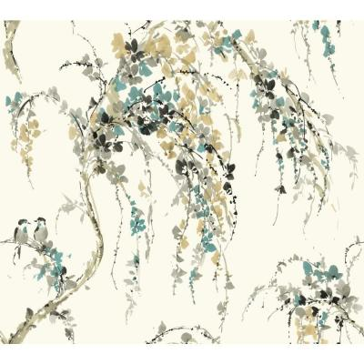 60.75 sq. ft. Watercolors Lovebirds Wallpaper