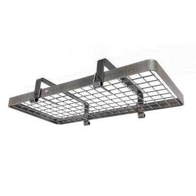 Premier Low Ceiling Rectangle Pot Rack in Hammered Steel