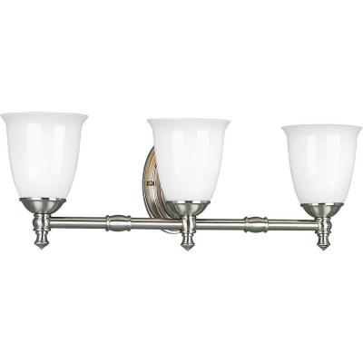 Progress Lighting Victorian Collection Brushed Nickel 3-light Vanity Fixture P3029-09