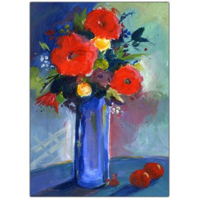 35 in. x 47 in. Red Flowers Canvas Art