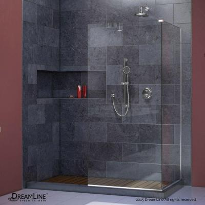 Linea 34 in. x 72 in. and 34 in. x 72 in. Semi-Framed Shower Door in Chrome Product Photo