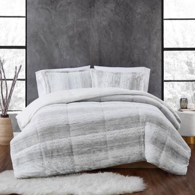 Snow Leopard Faux Fur Comforter Set