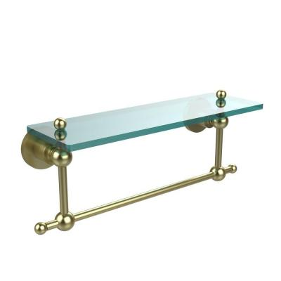 Astor Place Collection 5 in. W x 16 in. L Glass Vanity Shelf with Integrated Towel Bar in Satin Brass Product Photo