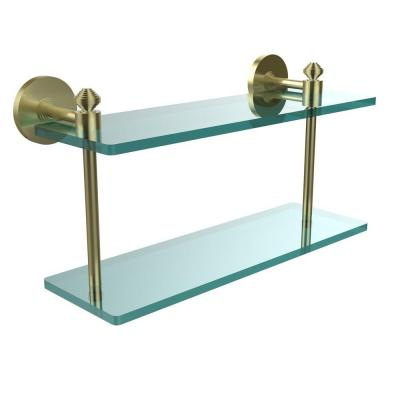 Southbeach Collection 16 in. W x 16 in. L 2-Tiered Glass Shelf in Satin Brass Product Photo