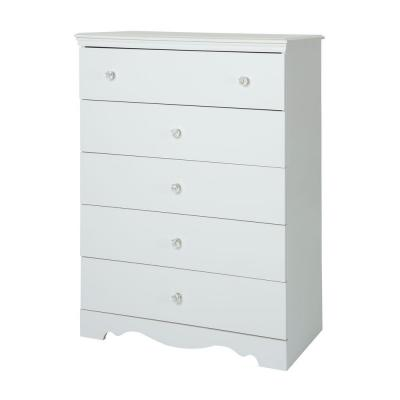 Crystal 5-Drawer Chest in Pure white