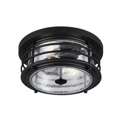Sea Gull Lighting Sauganash 2-Light Outdoor Black Ceiling Flush Mount with Clear Seeded Glass