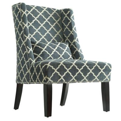 Madson Fabric Wingback Accent Chair with Pillow in Teal