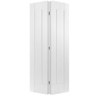 Masonite 36 in. x 80 in. x 1-3/8 in. Saddlebrook White 1-Panel Plank Smooth Hollow Core Interior Closet Bi-fold Door