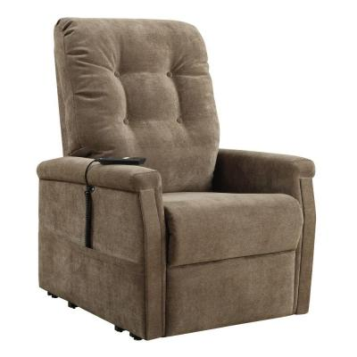Glider Fabric Power-Lift 2-Piece Recliner with Remote Control in Brown