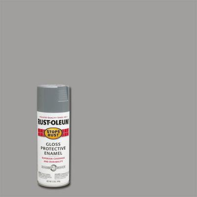 12 oz. Gloss Pewter Gray Protective Enamel Spray Paint (Case of