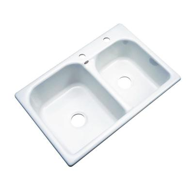 Thermocast Cambridge Drop-In Acrylic 33 in. 2-Hole Double Bowl Kitchen Sink in White
