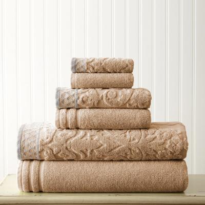 6-Piece Damask Jacquard Towels Set with Embellished Border