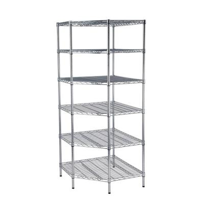 6-Shelf 30 in. W x 72 in. H x 30 in. D Chrome Commercial Corner Storage Unit Product Photo