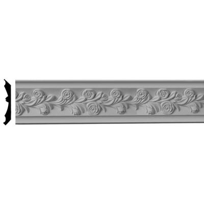 3-7/8 in. x 3-7/8 in. x 96 in. Polyurethane Rose Crown Moulding Product Photo
