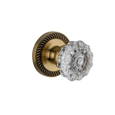Newport Rosette Vintage Brass with Passage Versailles Crystal Knob