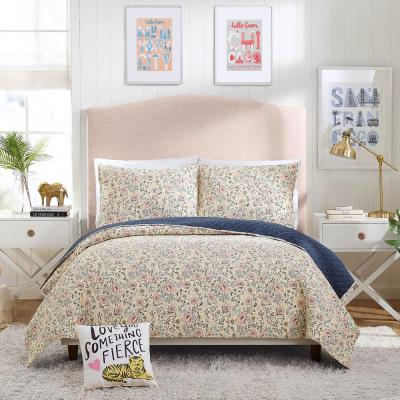 PROVENCAL POPPIES PINK COTTON QUILT SET BY HELLO! LUCKY