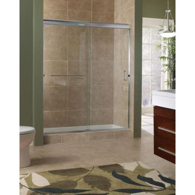Marina 60 in. x 76 in. H. Semi-Framed Sliding Shower Door in Brushed Nickel with 3/8 in. Clear Glass Product Photo