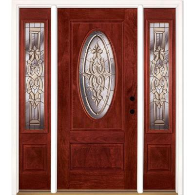 67.5 in. x 81.625 in. Silverdale Brass 3/4 Oval Lite Stained
