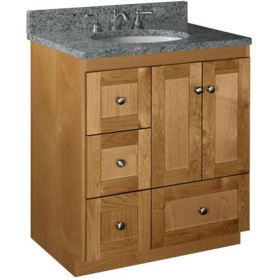 Simplicity by Strasser Shaker 30 in. W x 21 in. D x 34.5 in. H Vanity with Left Drawers Cabinet Only in Natural Alder