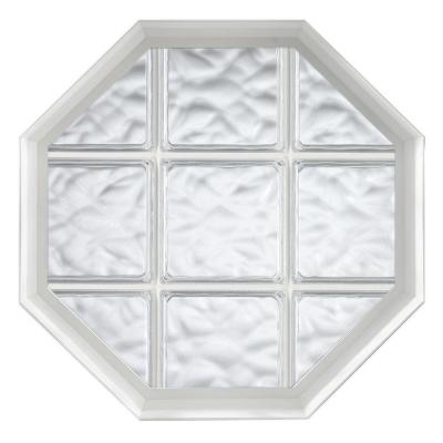 26 in. x 26 in. Acryilc Block Fixed Octagon Vinyl Window - White Product Photo