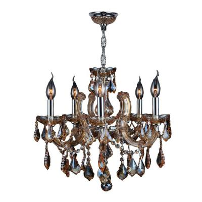 Catherine Collection 5-Light Chrome with Amber Crystal Chandelier