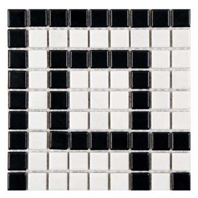 Metro Greek Key Matte White and Black Corner 8 in. x 8 in. x 5 mm Porcelain Mosaic Tile Product Photo