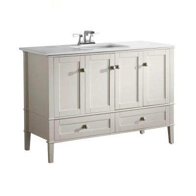 Simpli Home Chelsea 48 in. Vanity in Soft White with Quartz Marble Vanity Top in White and Under-Mounted Rectangular Sink