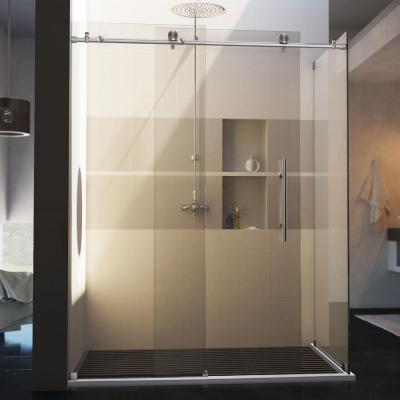 DreamLine Enigma-X 56-3/8 to 60-3/8 in. W x 34-1/2 in. D x 76 in. H Frameless Sliding Shower Enclosure in Brushed Stainless Steel