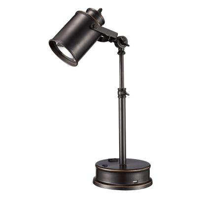 Monteaux Lighting 19.75 in. Adjustable Oil-Rubbed Bronze LED Desk Lamp with Built-In USB Socket