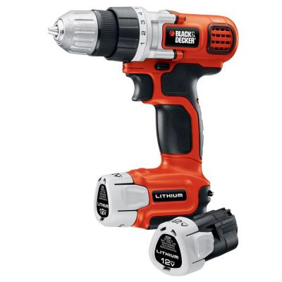 BLACK+DECKER 12-Volt Lithium-Ion 3/8 in. Cordless Drill/Driver with 2-Battery