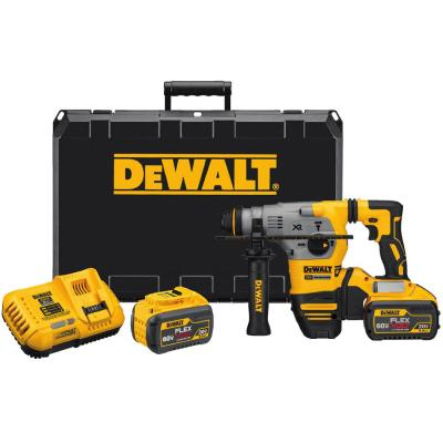 DEWALT 20-Volt MAX XR Lithium-Ion Cordless Brushless 1-1/8 in. L-Shape SDS Plus Rotary Hammer w/ (2) Batteries 9Ah and Charger
