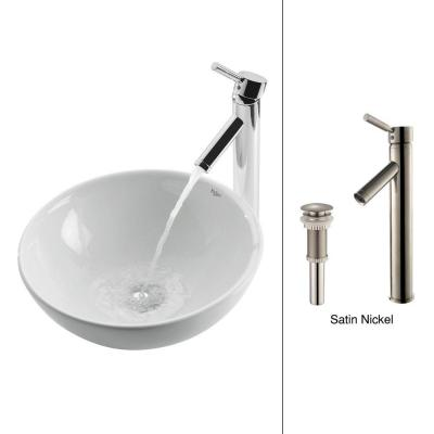 Vessel Sink in White with Sheven Faucet in Satin Nickel