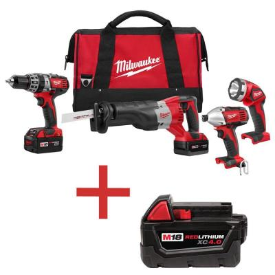 M18 18-Volt Lithium-Ion Cordless Hammer Drill/Impact Driver/Sawzall/Light Combo
