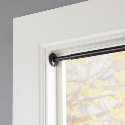 28 in. - 60 in. Telescoping 5/8 in. Room Darkening Tension Curtain Rod in Black Product Photo
