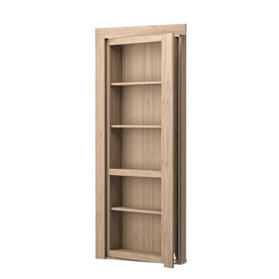 30 in. x 80 in. Assembled Natural Stained Maple Flush Mount Bookcase Wood Single Prehung Interior Door Product Photo