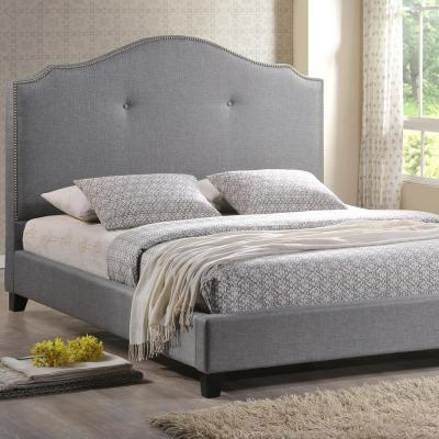 Baxton Studio Marsha Transitional Gray Fabric Upholstered King Size Bed