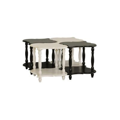 Black or White Accent Table with Display Shelves (Set of 4)