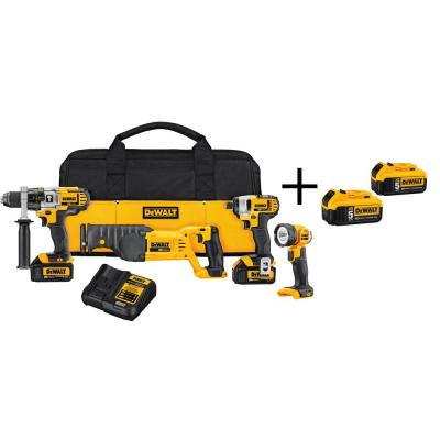 DEWALT 20-Volt MAX Lithium-Ion Cordless Combo Kit (4-Tool) with (2) Batteries 3Ah, Charger, Bag and (2) Bonus Batteries 5Ah