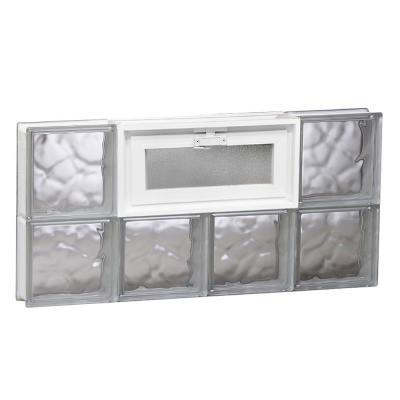 Frameless Wave Pattern Vented Glass Block Window