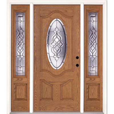 63.5 in. x 81.625 in. Lakewood Zinc 3/4 Oval Lite Stained Light Oak Fiberglass Prehung Front Door with Sidelites Product Photo