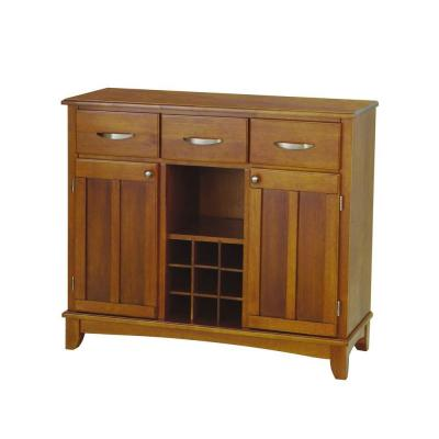 Home Styles Tree-Drawer 44 in. W Cottage Oak Buffet with Cottage Oak Wood Top