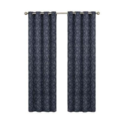 Patricia Blackout Storm Blue Grommet Curtain Panel, 63 in. Length (Price