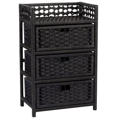 Household Essentials Paper Rope Black 3 Drawer Chest