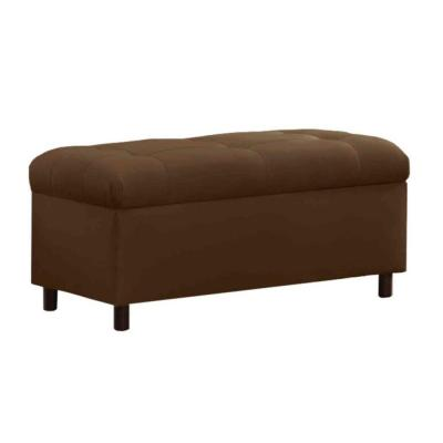 Santa Clara Microsuede Storage Bench in Chocolate
