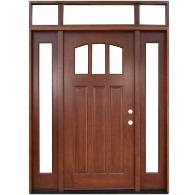 64 in. x 80 in. Craftsman 3 Lite Arch Stained Mahogany Wood Prehung Front Door with Sidelites and Transom Product Photo