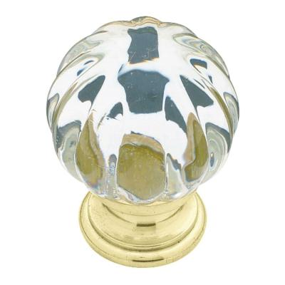 Liberty 1-1/4 in. Brass with Clear Acrylic Ridge Ball Cabinet Knob